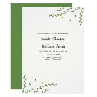 Invitación simple del boda del verdor