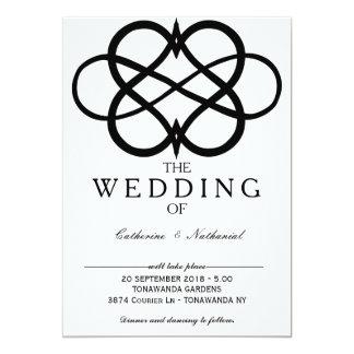 Invitación simple moderna del boda del corazón del