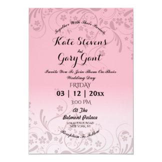 Invitación simple rosada del boda del estampado de