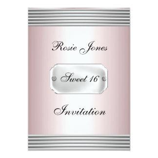Invitación simple rosada del fiesta del dulce 16