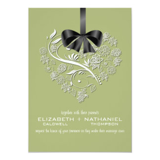 Invitación sin aliento del boda--verde de musgo