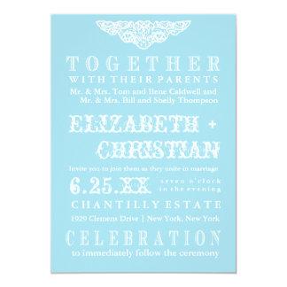 Invitación-skyblue del boda de Bill del teatro del Invitación 12,7 X 17,8 Cm