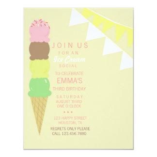 Invitación social del fiesta del helado