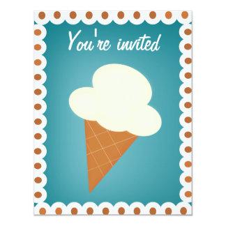 Invitación social del fiesta del helado invitación 10,8 x 13,9 cm