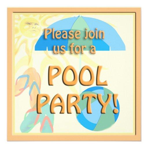 Invitación soleada linda de la fiesta en la piscin