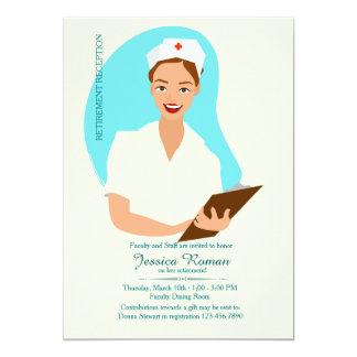 Invitación sonriente del retiro de la enfermera