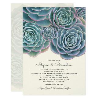 Invitación suculenta ancha del boda de la frontera