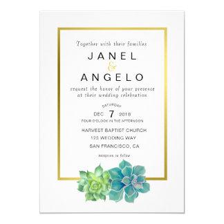 Invitación suculenta botánica del boda del oro