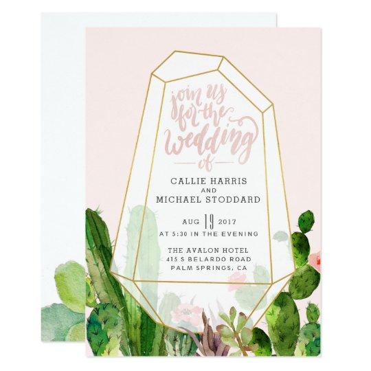 Invitación suculenta del boda del desierto - rosa