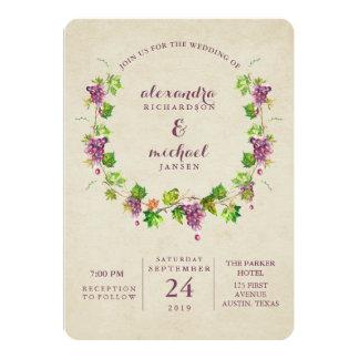 Invitación temática del boda del vino del viñedo