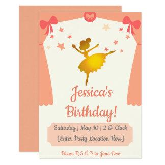 Invitación temática del cumpleaños de la bailarina
