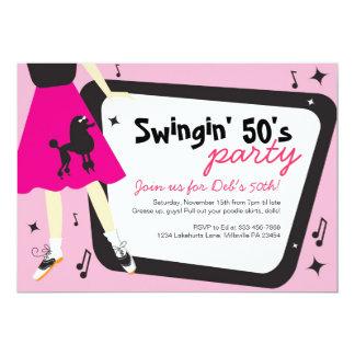Invitación temática del fiesta de los años 50 de