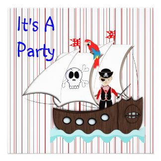 Invitación temática del fiesta del pirata lindo de