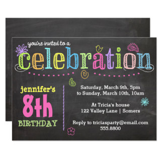 Invitación-Tiza de la fiesta de cumpleaños + Neón Invitación 12,7 X 17,8 Cm