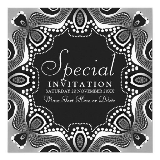 Invitación tribal blanca negra del fiesta del arte