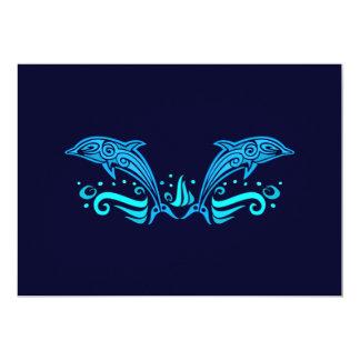 Invitación tribal de los delfínes invitación 12,7 x 17,8 cm