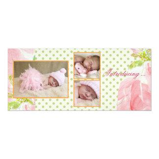 Invitación triple rosada perfecta del nacimiento