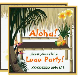 Invitación tropical de la choza de Tiki del fiesta