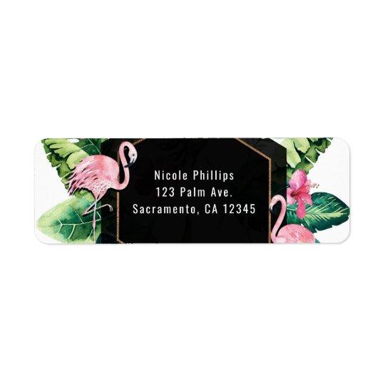 Invitación tropical de los flamencos del hibisco etiquetas de remite