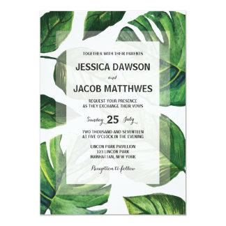 Invitación tropical del boda, boda de playa