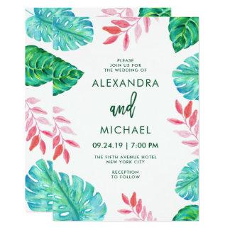 Invitación tropical del boda de la acuarela