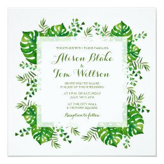 Invitación tropical del boda de la acuarela de las