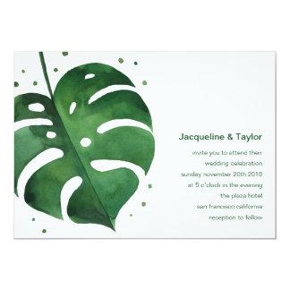 Invitación tropical del boda de la hoja