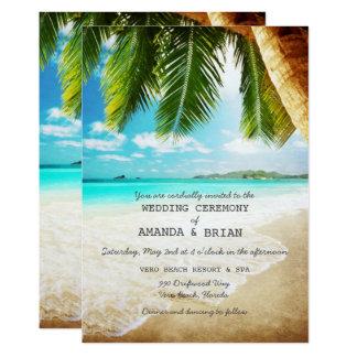 Invitación tropical del boda de playa de la isla