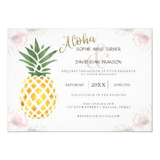 Invitación tropical del boda de playa de la piña