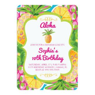 Invitación tropical del cumpleaños de la piña