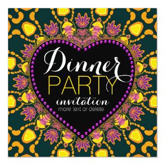 Invitación tropical del fiesta de cena del batik