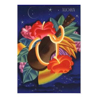 Invitación tropical hawaiana de las noches del invitación 12,7 x 17,8 cm