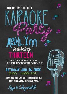 Invitaciones De Cumpleaños Neón Karaoke Fiesta Zazzle Es