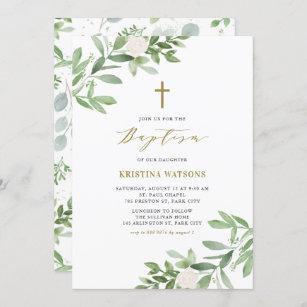 Invitación Vegetación acuarela y bautismo floral
