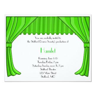 Invitación verde 1 del drama y del teatro