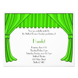 Invitación verde 2 del drama y del teatro