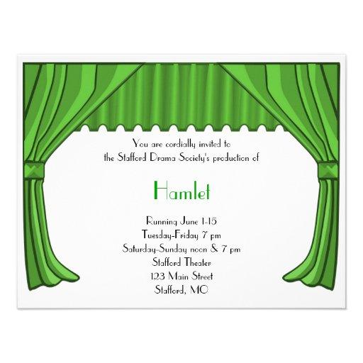 Invitación verde 3 del drama y del teatro