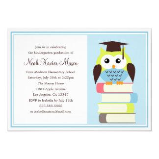 Invitación verde/azul de la fiesta de graduación
