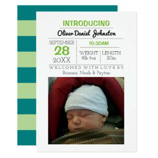 Invitación verde azulada del bebé de la foto de la