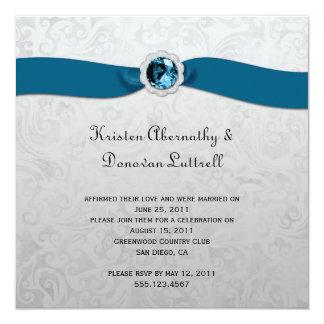 Invitación verde azulada del boda del poste de la