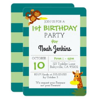 Invitación verde azulada del fiesta del cumpleaños