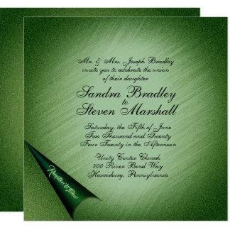 Invitación verde brillante del boda