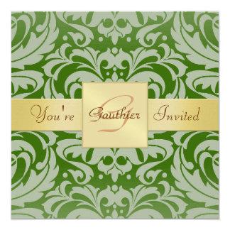 Invitación verde de la cinta del oro del damasco