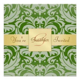 Invitación verde de la cinta del oro del damasco d