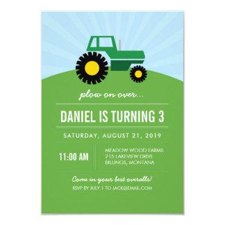 Invitación verde de la fiesta de cumpleaños del