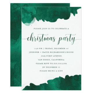 Invitación verde de la fiesta de Navidad de la