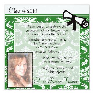 Invitación verde de la graduación de la foto del