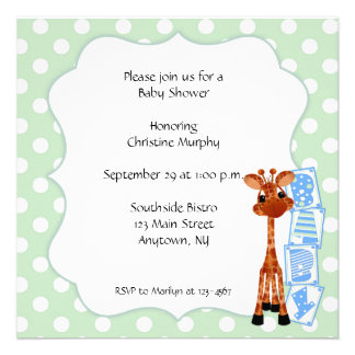 Invitación verde de menta de la jirafa del lunar