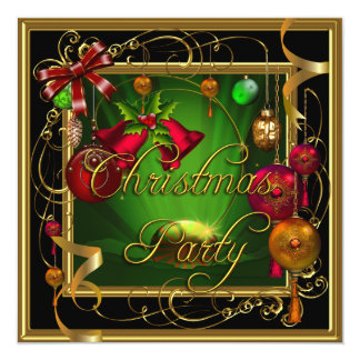 Invitación verde de Navidad del rojo de la fiesta