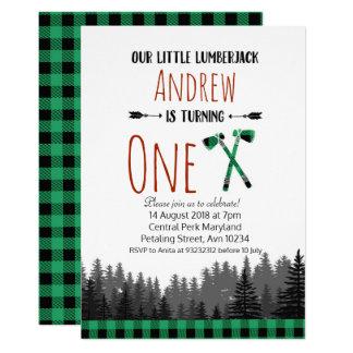 Invitación verde del arbolado del cumpleaños del